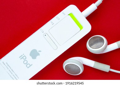 Calgary, Alberta, Canada. Feb 13, 2021. The Back side of an iPod Shuffle. A digital audio player designed and formerly marketed by Apple.