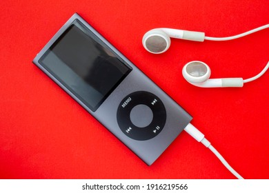 Calgary, Alberta, Canada. Feb 13, 2021. iPod Mini smaller digital audio player that was designed and marketed by Apple.