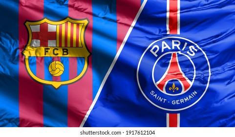 Calgary, Alberta, Canada. Feb 15, 2021. Club Barcelona vs Paris Saint Germain flag Match champions league.