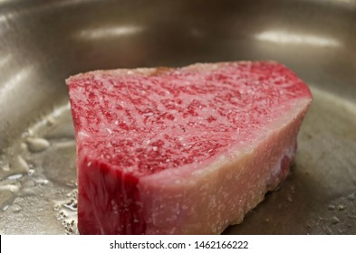 Calgary, Alberta / Canada - February 12, 2015. Japanese Kagoshima A5 Wagyu Beef Steak.