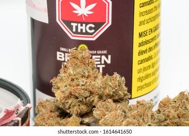 Calgary, Alberta / Canada - January 11 2020: Dried Cannabis Flower Products
