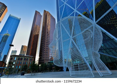Calgary, Alberta Canada - July 11, 2018: Overlook of Wonderland Sculpture also known as Big Head in Downtown of Calgary, AB Canada.