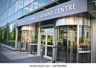 Calgary, Alberta / Canada - July 28, 2019.  Riddell Library and Learning Centre - Mount Royal University (MRU) Library.