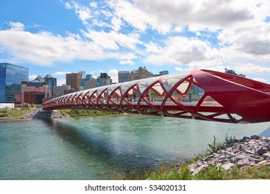 Calgary, Alberta, Canada - July 30, 2016.  The Peace Bridge is one of the top 10 most visited place in Calgary, visited by tourists and locals. It was opened in 2012, and cost over 20 million dollars.