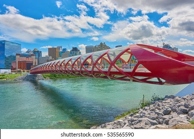 Calgary, Alberta, Canada - July 30, 2016. The Peace Bridge is one of the most visited place in Calgary, visited by tourists and locals. It was opened in 2012, and cost over 20 million dollars.