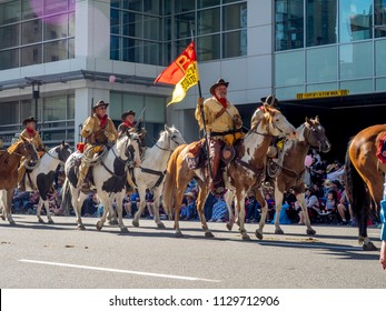 Calgary, Alberta / Canada - July 6, 2018: Participants in the famous Calgary Stampede parade. The Calgary Stampede is one of the largest and most famous rodeo and western festivals.