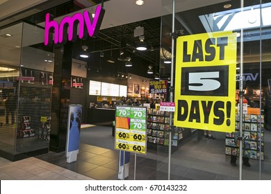 CALGARY ALBERTA, CANADA - MARCH 30, 2017: Nationwide Closure of HMV Stores captured in Market Mall Shopping Center.   Ontario based Sunrise Records moved in most locations by end of May 2017
