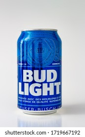 Calgary, Alberta, Canada. May 1, 2020. A beer can of bud light on a white background