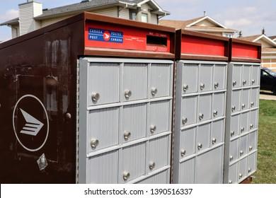 Calgary, Alberta / Canada - May 6th 2019: A Canada Post Community mailbox in Calgary