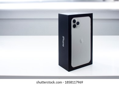 Calgary, Alberta, Canada. Nov 20, 2020. A front view of a iPhone 11 Pro Max box.