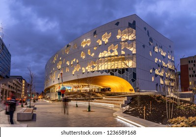 Calgary, Alberta Canada - November 18, 2018: Calgary`s brand new main public library in central Calgary. The library recently opened to great fanfare and contains many amenities as well as nice cafe.