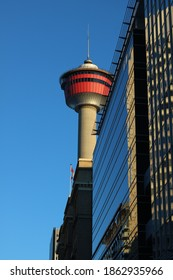 Calgary, Alberta, Canada - November 26, 2020, Calgary Tower in the downtown core