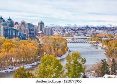 Calgary. Alberta. Canada. Oct 13 2018.  Calgary downtown in Autumn.  The city is bouncing back to life after two years of oil price slump.
