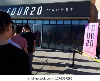 Calgary, Alberta / Canada - October 17th 2018: Legalization of Marijuana in Canada, line up outside of marijuana store on the day that pot became legal in canada