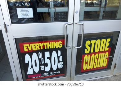 CALGARY, ALBERTA, CANADA - OCTOBER 19, 2017: Sears Store Door Entrance in Southcentre Shopping Mall in South Calgary with Sale Deals due to upcoming Corporate Closure and going out of Business