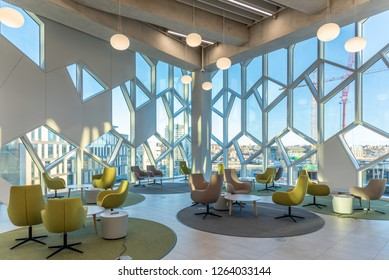 Calgary, Alberta - December 15, 2018: Interior of Calgary`s Central Branch of the Calgary Public Library.  The library opened in November 2018 and was designed by renowned Snohetta firm.