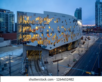 Calgary, Alberta - December 21, 2018: Calgary`s brand new central public library building designed by Snøhetta. The library recently opened to great fanfare and contains many amenities.