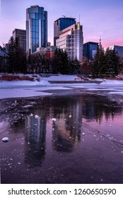 Calgary, Alberta - December 9,  2018:  View of Calgary`s urban skyline at sunrise from a reconstructed urban wetland.  Keeping nature in the city is one of humanity`s great environmental challenges.