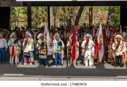 CALGARY, ALBERTA - JULY 10: Blackfoot Elders opening the traditional Indian Village at the Calgary Stampede on July 10, 2005 in Calgary, Alberta, Canada. A Blackfoot ceremony is held daily.