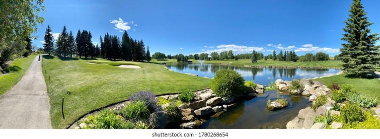 Calgary, Alberta - July 15, 2020: 17th Hole of Pinebrook Golf Course