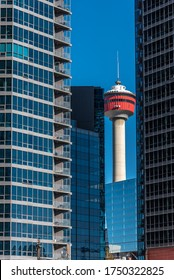 Calgary, Alberta - May 24, 2020: View of the Calgary skyline with modern buildings and the Calgary Tower.