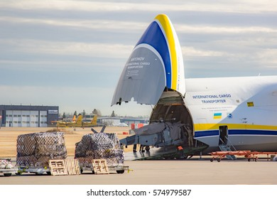 Calgary, Alberta - November 9, 2016. An RAF Lynx Wildcat Helicopter is loaded onto an Antonov AN-124 aircraft for transport