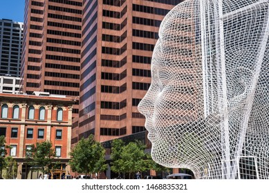 Calgary, Alberta/Canada – July 21 2019: view of The Wonderland Sculpture in downtown Calgary city