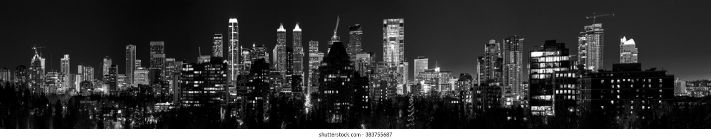 CALGARY CANADA 31-12-2015: Calgary at night is considered a beta- world city by the Globalization and World Cities study group and tied for 5th best - home for large number of corporate head offices