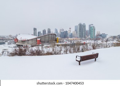 CALGARY, CANADA -  4TH MARCH 2018: A view of the Calgary Skyline in the winter from Scotsman's Hill. Showing snow, architecture and buildings.