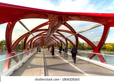 CALGARY, CANADA - APRIL 2, 2020: Peace Bridge across Bow river in Calgary in a sunny day, Canada