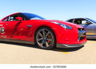 """CALGARY CANADA  AUG 9 2015: """"Hot Import Nights"""" car show  , the show is a regular event held each year in Calgary and Vancouver, where specialized imported vehicles on display by the owners."""