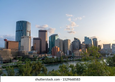 Calgary, Canada - August 4, 2019: View of Calgary during sunset