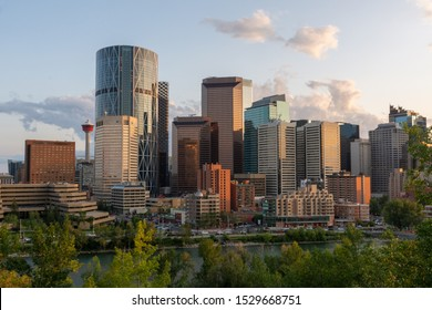 Calgary, Canada - August 4, 2019: View of the downtown of Calgary during sunset