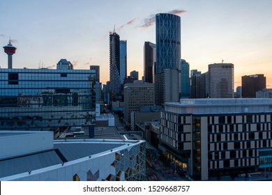 Calgary, Canada - August 4, 2019: View of the downtown of Calgary during dusk