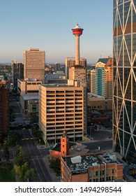 CALGARY, CANADA - AUGUST 5, 2019: Panoramic image of the skyline of Calgary during sunrise on August 5, 2019 in Alberta, Canada