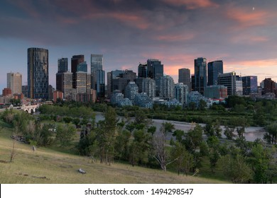 CALGARY, CANADA - AUGUST 5, 2019: Panoramic image of the skyline of Calgary during sunset on August 5, 2019 in Alberta, Canada