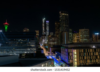 Calgary, Canada - August 5, 2019: Downtown of Calgary at night