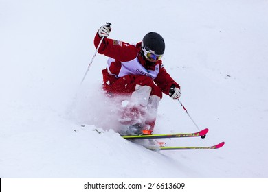 CALGARY CANADA JAN 2 2015. FIS Freestyle Ski World Cup, Winsport, Calgary Mr. Nicola Manna  from Switzerland  at the Mogul Free Style World Cup on race day.