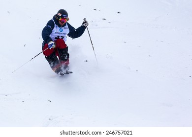 """CALGARY CANADA JAN 2 2015. FIS Freestyle Ski World Cup, Winsport, Calgary  Unidentified """"T4"""" Pre Runner from Canada at the Mogul Free Style World Cup on practice day."""