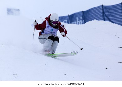 CALGARY CANADA JAN  3  2015.  FIS Freestyle Ski World Cup, Winsport, Calgary Ms. Junko Hoshino from Japan at the Mogul Free Style World Cup on race day.