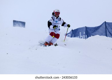CALGARY CANADA JAN  3  2015.  FIS Freestyle Ski World Cup, Winsport, Calgary Ms. Christel Hamel  from Canada  at the Mogul Free Style World Cup on race day.