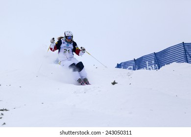 CALGARY CANADA JAN  3  2015.  FIS Freestyle Ski World Cup, Winsport, Calgary Ms. K.C. Oakley  from USA  at the Mogul Free Style World Cup on race day.