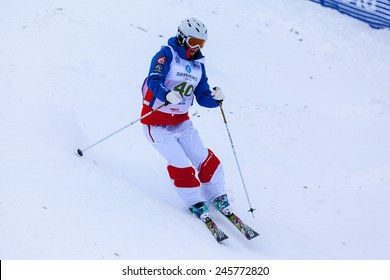CALGARY CANADA JAN 3 2015. FIS Freestyle Ski World Cup, Winsport, Calgary Ms. Lea Bouard  from France  at the Mogul Free Style World Cup on race day.