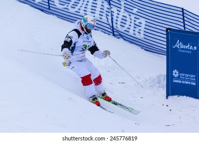 CALGARY CANADA JAN 3 2015. FIS Freestyle Ski World Cup, Winsport, Calgary Ms. Julie Bergeron  from Canada at the Mogul Free Style World Cup on race day.