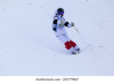 CALGARY CANADA JAN 3 2015. FIS Freestyle Ski World Cup, Winsport, Calgary Ms. Muyrlam Leclerc  from Canada at the Mogul Free Style World Cup on race day.