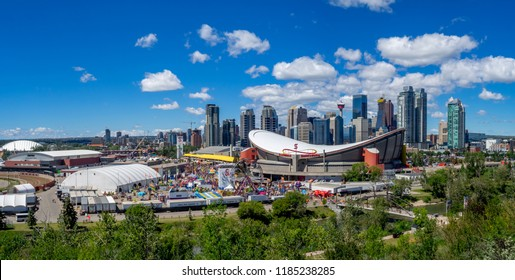 Calgary, Canada - July 14, 2018:  View of the Calgary Stampede on a sunny day in Calgary, Alberta. The Calgary Stampede is one of the world's largest rodeo and outdoor fairs.