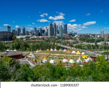 Calgary, Canada - July 14, 2018:  View of the Indian Village Calgary Stampede on a sunny day in Calgary, Alberta. The Calgary Stampede is one of the world's largest rodeo and outdoor fairs.