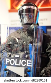 Calgary, Canada.  July 22, 2017 - Riot police mannequin is on display at Youthlink Police Interpretive Centre