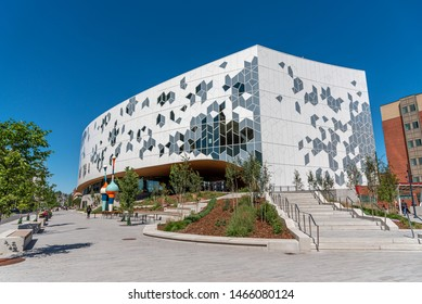 Calgary, Canada - July 26, 2019: Calgary`s brand new main public library in central Calgary. The library recently opened to great fanfare and contains many amenities as well as nice cafe.