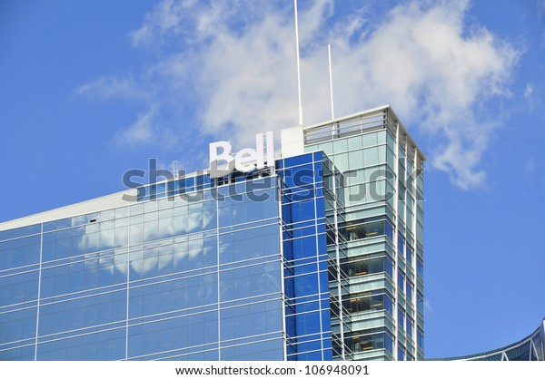 CALGARY, CANADA - JULY 5:  Bell Media's head office on July 5, 2012 in Calgary, Alberta. Bell is one of Canada's major telecommunication companies.